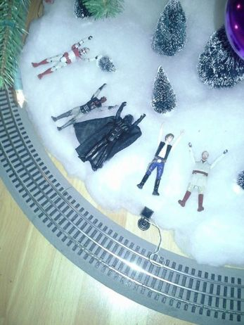 Star wars snow angels under our Christmas tree this year